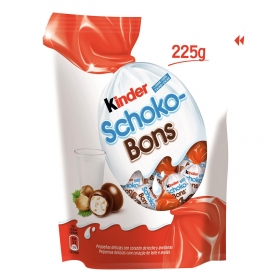 Mini huevos de chocolate rellenos de leche y avellanas Kinder Schokobons sin gluten 225 g.