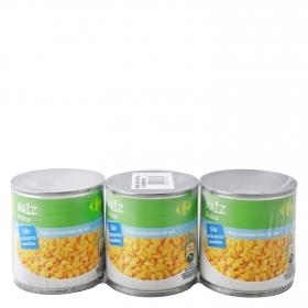 Maíz contenido bajo de sal y sin azúcar añadidos Carrefour pack de 3 unidades de 150 g.