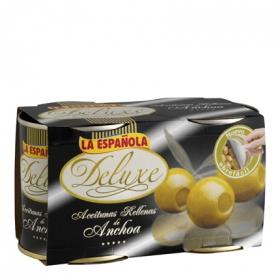 Aceitunas verdes rellenas de anchoa La Española pack de 2 latas de 85 g.