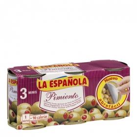 Aceitunas verdes manzanilla rellenas de pasta de pimiento La Española 150 g.