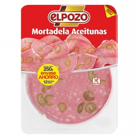 Mortadela con aceitunas lonchas El Pozo sin gluten 250 g.