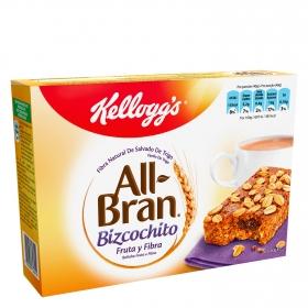 Bizcochito con fruta y fibra All Bran Kellogg's 6 unidades de 40 g.