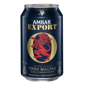 Cerveza Ambar Export tostada Tres Maltas lata 33 cl.