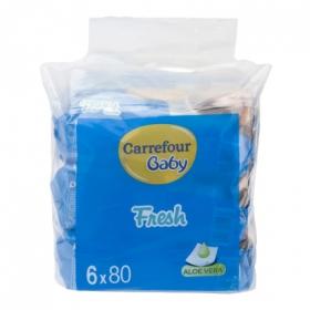 Toallitas con aloe vera Carrefour Baby pack de 6 paquetes de 80 ud.