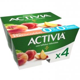 Yogur bífidus desnatado con melocotón Danone Activia pack de 4 unidades de 125 g.