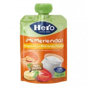 Yogur con plátano y fresa en bolsita Hero Nanos 100 g.