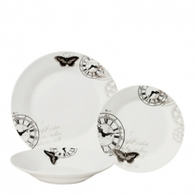 Vajilla 18 piezas porcelana decorada Mod. Reloj
