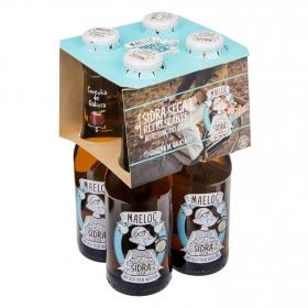 Sidra Maeloc seca refrescante pack de 4 botellas de 20 cl.