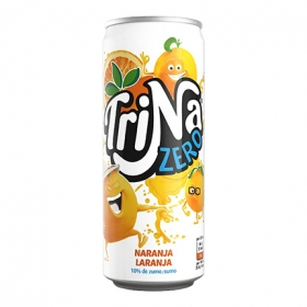Refresco de naranja Trina zero sin gas lata 33 cl.