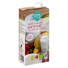 Bebida ecológica de arroz con plátano y fresa
