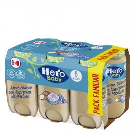 Tarrito de arroz blanco con supremas de merluza desde 8 meses sin sal añadida Hero Baby natur sin aceite de palma pack de 6 unidades de 250 g.