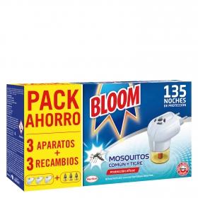 Insecticida eléctrico para mosquitos común y tigre Bloom 3 aparatos + 3 recambios.