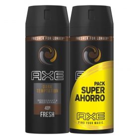 Desodorante en spray Dark Temptation Axe pack de 2 unidades de 150 ml.