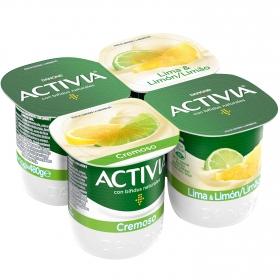 Yogur bífidus cremoso de lima y limón Danone Activia pack de 4 unidades de 120 g.