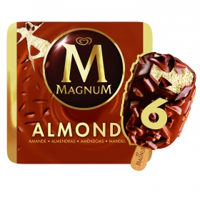 Bombón helado Almond Magnum sin gluten pack de 6 unidades de 100 g.