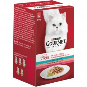 Purina Gourmet Mon Petit Comida Húmeda para Gato Atún, Salmón y Trucha 6x50g