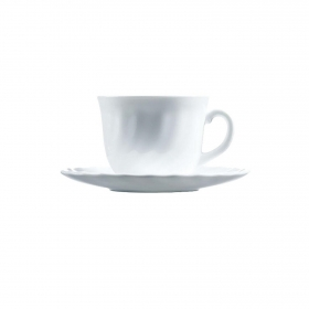 Set de 4 Juego de Café Redondo de Vidrio Opal LUMINARC Trianon 8pz - Blanco