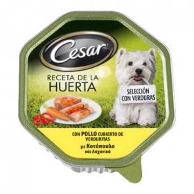 Alimento Húmeda para Perros Cesar Receta de la Huerta Pollo y Verduras 150Gr