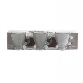 Set 3 Tazas café de Vidrio HOME STYLE Roma 9,5cl - Transparente