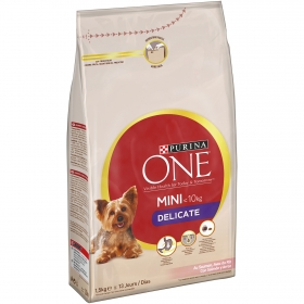 Purina ONE MINI Pienso para Perro Delicate Perro Adulto Salmón y Arroz 1,5kg