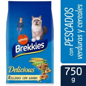 Brekkies Pienso para Gato  Delicious selección de pescados y verdura 750 gr