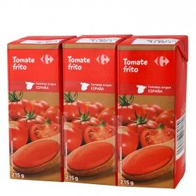 Tomate frito Carrefour pack de 3 briks de 215 g.