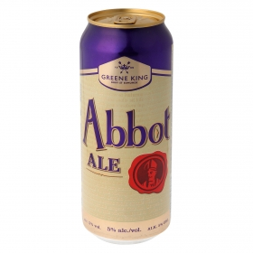 Cerveza Greene King Abbot Ale lata 50 cl.