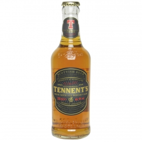 Cerveza Tennent's escocesa con whisky oak botella 33 cl.