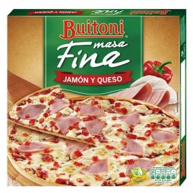 Pizza jamón y queso masa fina