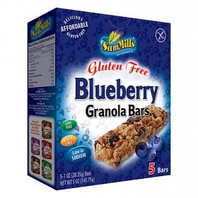 Barritas de cereales con arándanos SamMills sin gluten 5 unidades de 28,35