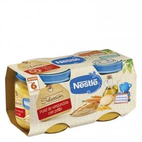Tarrito de puré de verduritas con pollo desde 6 meses sin sal añadida Nestlé Naturnes Selección sin gluten pack de 2 unidades de 200 g.