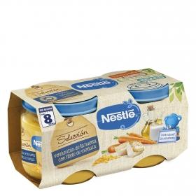 Tarrito de verduritas de la huerta con filete de merluza Nestlé sin gluten pack de 2 unidades de 200 g.