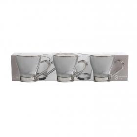 Set 3 Tazas café de Vidrio HOME STYLE Debora 11cl -  Transparente