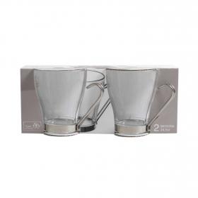 Set 2 Tazas Desayuno de Vidrio HOME STYLE Debora 24,5cl -  Transparente