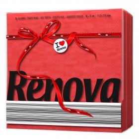 Servilletas rojas 1 capa de celulosa Renova 70 ud.