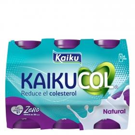 Yogur líquido zero natural Kaikucol pack de 6 unidades de 70 g.