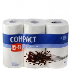 Papel de cocina compact Carrefour 3 rollos.