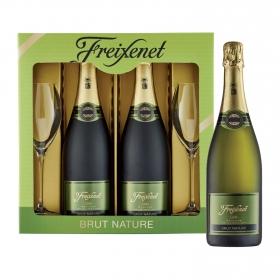 LOTE 106: 2 botellas D.O. Cava Freixenet brut nature 75 cl. + 2 copas