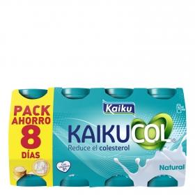 Yogur líquido natural Kaikucol pack de 8 unidades de 65 g.