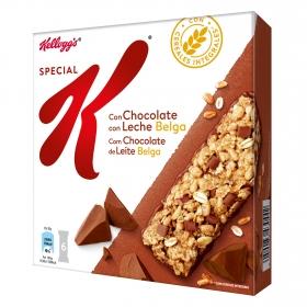 Barritas de cereales con chocolate y leche belga Special K Kellogg's 6 unidades de 20g.