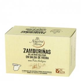 Zamburiñas de las rías gallegas en salsa de vieira De Nuestra Tierra sin gluten 65 g.