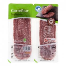 Salchichón Extra Lonchas - Sin Gluten Carrefour pack de 2 unidades de 112,5 g.