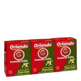 Tomate frito con aceite de oliva virgen extra Orlando sin gluten pack de 3 briks de 210 g.
