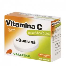 Vitamina C + Guaraná sin azúcar Vallesol 24 comprimidos.