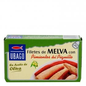 Tronco de melva en aceite de oliva con pimientos del piquillo Ubago 85 g.