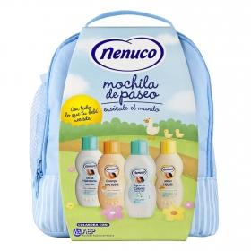 Mochila Azul para Bebé (leche hidratante, champú, colonia y jabón)