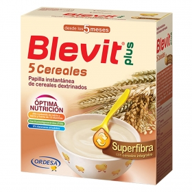 Papilla de 5 cereales Blevit plus Superfibra 600 g.