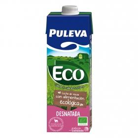 Leche desnatada ecológica Puleva brik 1 l.