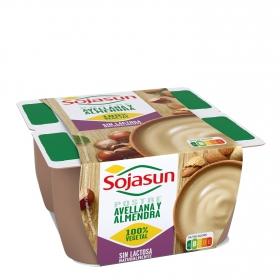 Postre de soja con avellanas y almendras Sojasun sin lactosa pack de 4 unidades de 100 g.