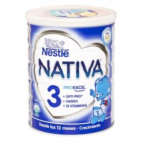 Leche 3 de crecimiento en polvo Nestlé Nativa sin gluten 800 g.